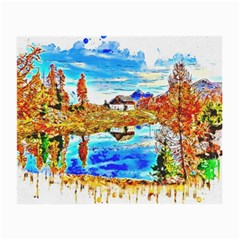 Lake Chalet Mountain Art Small Glasses Cloth (2 Side) by Nexatart