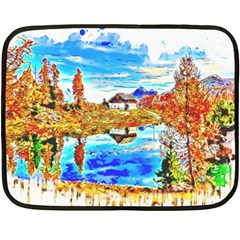 Lake Chalet Mountain Art Double Sided Fleece Blanket (mini)  by Nexatart