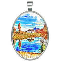 Lake Chalet Mountain Art Oval Necklace