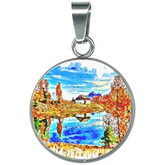 Lake Chalet Mountain Art 20mm Round Necklace