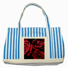Red Roses Striped Blue Tote Bag by bloomingvinedesign