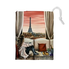 Parisian Dreams  Drawstring Pouch (large) by ArtByThree