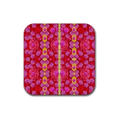 Roses And Butterflies On Ribbons As A Gift Of Love Rubber Square Coaster (4 Pack)  by pepitasart