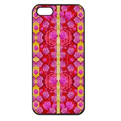 Roses And Butterflies On Ribbons As A Gift Of Love Apple Iphone 5 Seamless Case (black) by pepitasart