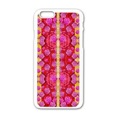 Roses And Butterflies On Ribbons As A Gift Of Love Apple Iphone 6/6s White Enamel Case by pepitasart