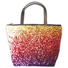 Rainbow Glitter Graphic Bucket Bag