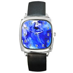 Light Blue Silver Waves Square Metal Watch