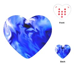 Light Blue Silver Waves Playing Cards (heart)