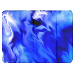 Light Blue Silver Waves Samsung Galaxy Tab 7  P1000 Flip Case by vwdigitalpainting