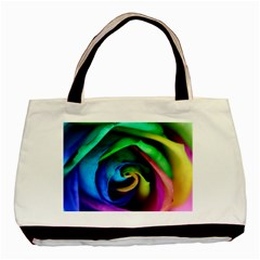 Rainbow Rose 17 Basic Tote Bag