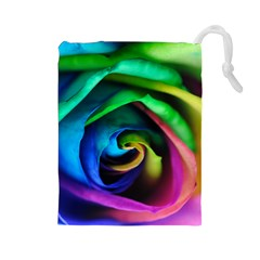 Rainbow Rose 17 Drawstring Pouch (large)