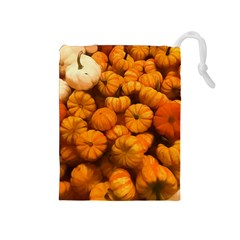 Pumpkins Tiny Gourds Pile Drawstring Pouch (medium)
