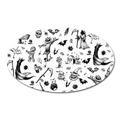 Halloween Pattern Oval Magnet by Valentinaart