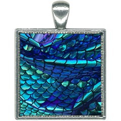 Mermaid Print Square Necklace