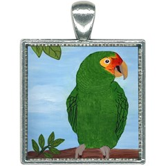 Amazon Parrot Square Necklace by lwdstudio