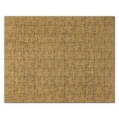 Burlap Coffee Sack Grunge Knit Look Rectangular Jigsaw Puzzl by dressshop