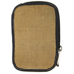 Burlap Coffee Sack Grunge Knit Look Compact Camera Leather Case by dressshop