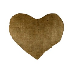 Burlap Coffee Sack Grunge Knit Look Standard 16  Premium Heart Shape Cushions by dressshop