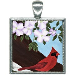 Cardinal And Dogwood Flowers Square Necklace by lwdstudio