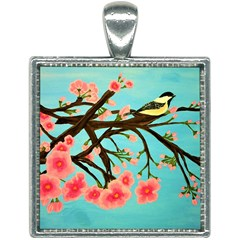 Chickadee Cherry Tree Square Necklace by lwdstudio