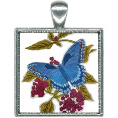 Blue Butterfly Square Necklace