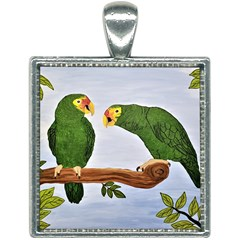 Pair Of Amazon Parrots Square Necklace by lwdstudio