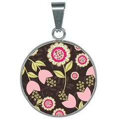 Flowers Wallpaper Floral Decoration 25mm Round Necklace by Sapixe