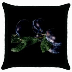 Plums Photo Art Fractalius Fruit Throw Pillow Case (black) by Sapixe