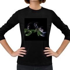 Plums Photo Art Fractalius Fruit Women s Long Sleeve Dark T Shirt by Sapixe