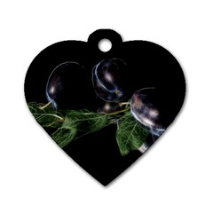 Plums Photo Art Fractalius Fruit Dog Tag Heart (two Sides) by Sapixe