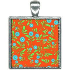 Background Texture Seamless Flowers Square Necklace