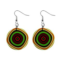 Digital Art Background Yellow Red Mini Button Earrings by Sapixe