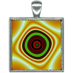 Digital Art Background Yellow Red Square Necklace