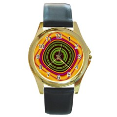 Digital Art Background Yellow Red Round Gold Metal Watch by Sapixe