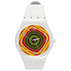Digital Art Background Yellow Red Round Plastic Sport Watch (m) by Sapixe