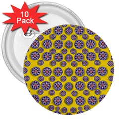 Sunshine And Floral In Mind For Decorative Delight 3  Buttons (10 Pack)  by pepitasart