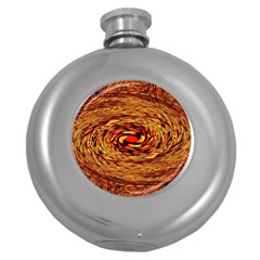 Orange Seamless Psychedelic Pattern Round Hip Flask (5 Oz) by Jojostore
