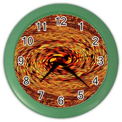 Orange Seamless Psychedelic Pattern Color Wall Clock