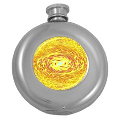 Yellow Seamless Psychedelic Pattern Round Hip Flask (5 Oz) by Jojostore