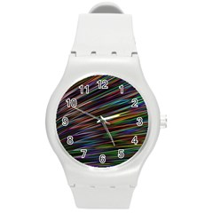 Texture Colorful Abstract Pattern Round Plastic Sport Watch (m) by Jojostore