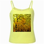 Summer Sun Set Fractal Forest Background Yellow Spaghetti Tank Front