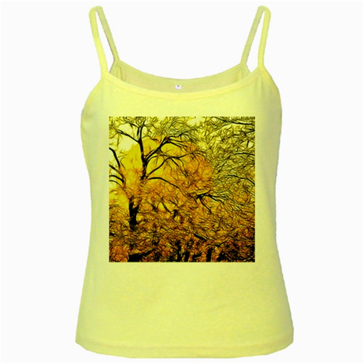 Summer Sun Set Fractal Forest Background Yellow Spaghetti Tank