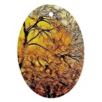 Summer Sun Set Fractal Forest Background Oval Ornament (Two Sides) Front
