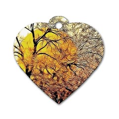 Summer Sun Set Fractal Forest Background Dog Tag Heart (two Sides) by Jojostore
