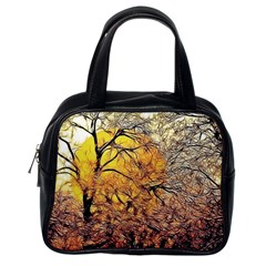 Summer Sun Set Fractal Forest Background Classic Handbag (one Side) by Jojostore