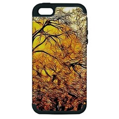 Summer Sun Set Fractal Forest Background Apple Iphone 5 Hardshell Case (pc+silicone) by Jojostore