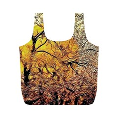 Summer Sun Set Fractal Forest Background Full Print Recycle Bag (m) by Jojostore