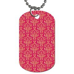 Damask Background Gold Dog Tag (one Side) by Jojostore