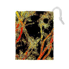 Artistic Effect Fractal Forest Background Drawstring Pouch (large)