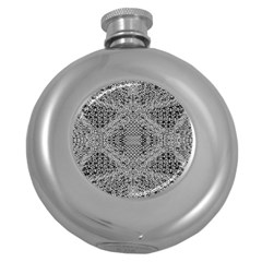Gray Psychedelic Background Round Hip Flask (5 Oz) by Jojostore